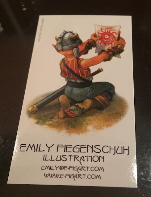 Emily's business card. Email is emily at e-figart.com and website is www.e-figart.com.